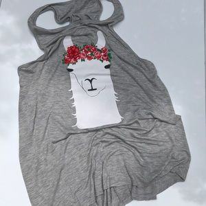 Llama crown of roses tank with embroidered flower